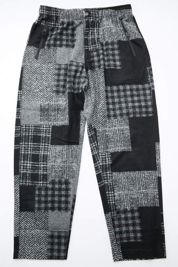 Engineered Garments Jog Pant in Knit Patchwork Herringbone - Black/Grey