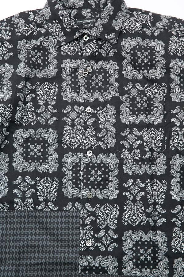 Engineered Garments Spread Collar Shirt - Black Sheeting Bandana Print