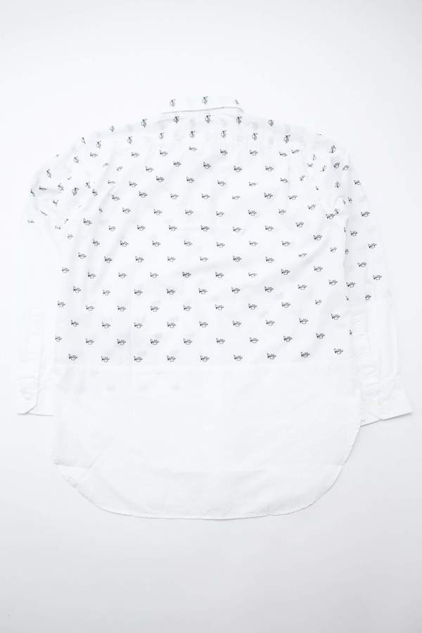 Engineered Garments Spread Collar Shirt in Trumpet Embroidery Broadcloth - White
