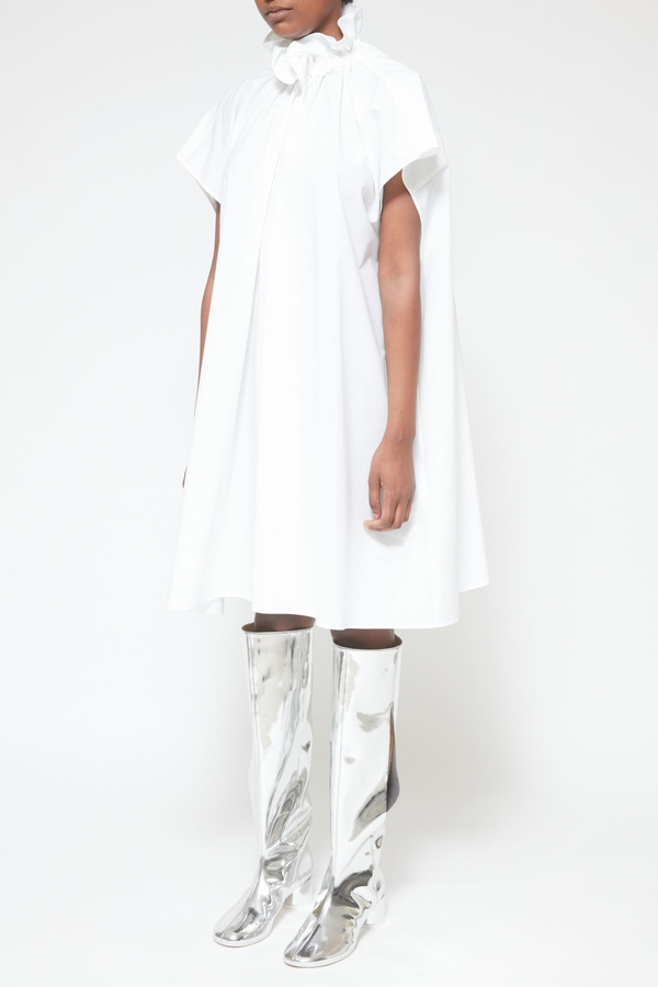 MM6 Maison Margiela Ruffle Collar Poplin Shirt Dress - White