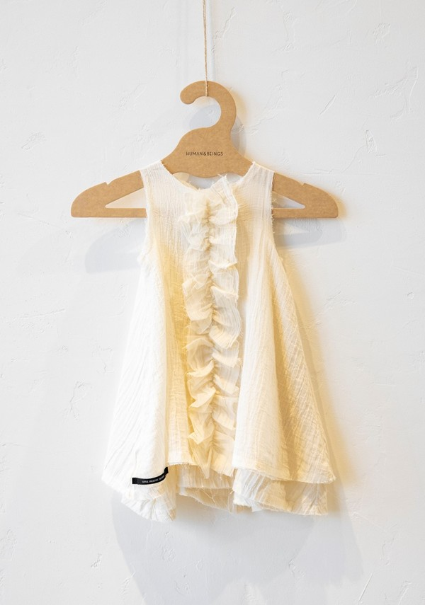 Kids Little Creative Factory Kid Muslin Ruffle Dress - Cream