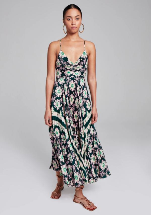 A.L.C. Gemini Stella Scarf Print Dress - Green / Pink