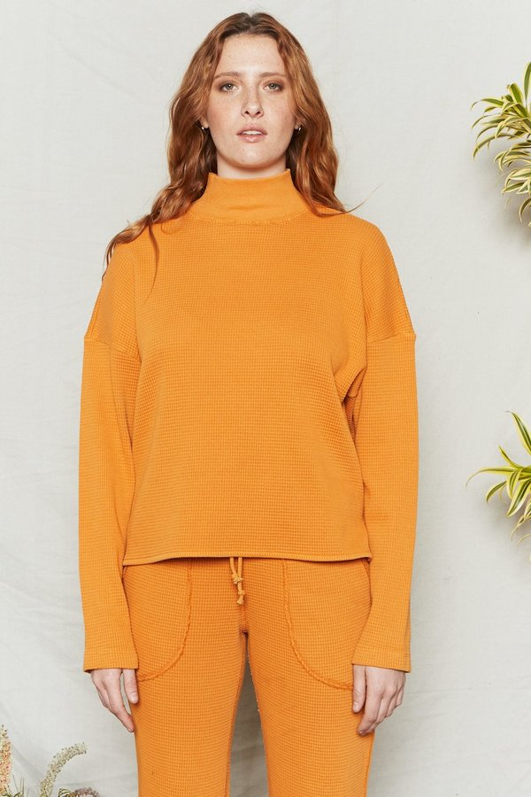 BACK BEAT RAGS Organic Cotton Waffle Thermal Top - Sunset
