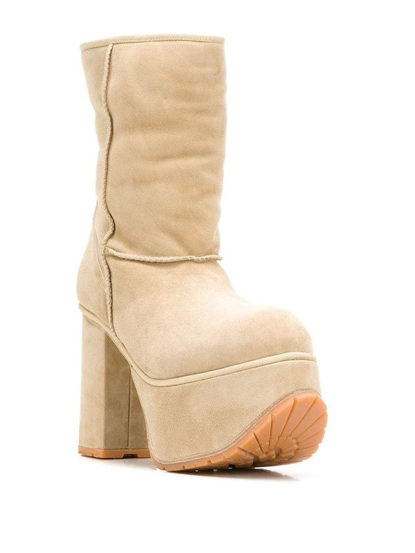 R13 Shearling Short Platform Boots - Tan