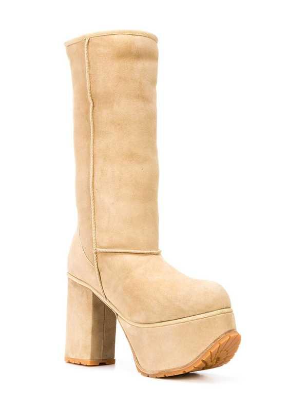 R13 Shearling Tall Platform Boots - Tan