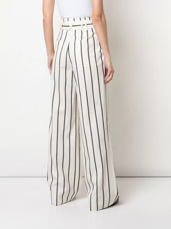 PROENZA SCHOULER BELTED STRIPED PANTS - WHITE