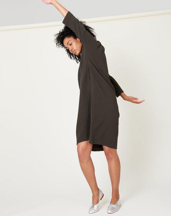 Black Crane Bud Dress - Dark Grey