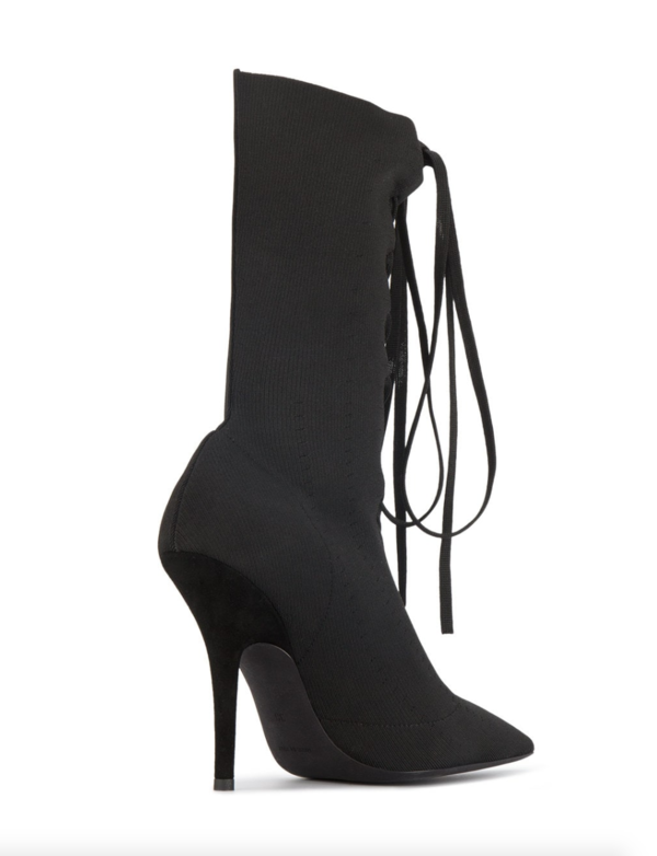 Yeezy Knit Lace Up Ankle Boot - Black