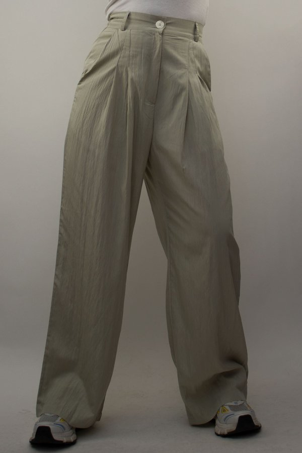 W A N T S Pleated High Waist Pants - Mint Green