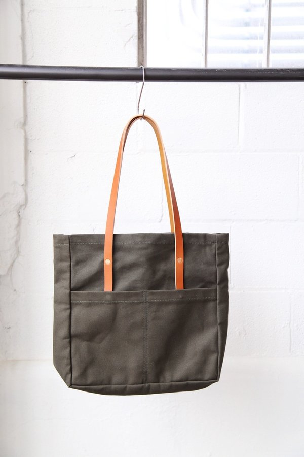 Foxtrot Supply Co. Utility Tote - Army Green with Cognac Leather Handles