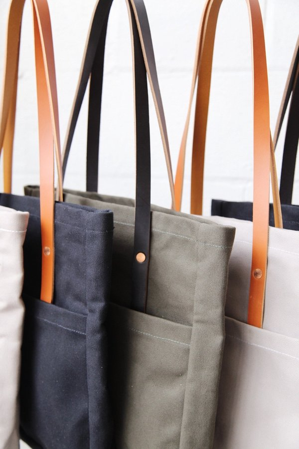 Foxtrot Supply Co. Utility Tote - Black with Cognac Leather Handles