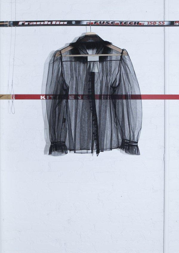 VINTAGE SIMONE ROCHA Bubble Sleeves Mesh Shirt - BLACK