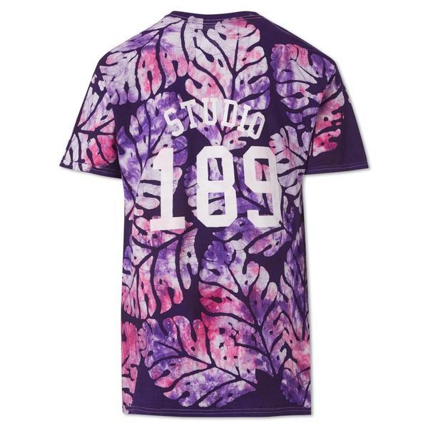 Unisex Studio One Eighty Nine Big Leaf Cotton Hand-Batik T-Shirt - Violet