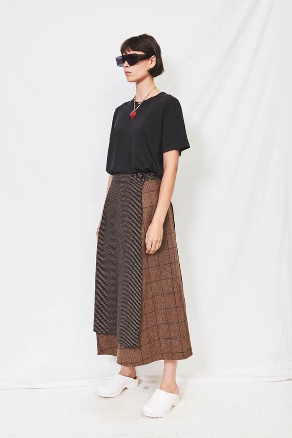 HIDDEN FOREST MARKET Check Mixed Wool Skirt