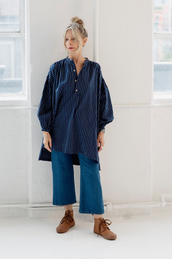 UQNATU Popover Tunic - Indigo Stripe