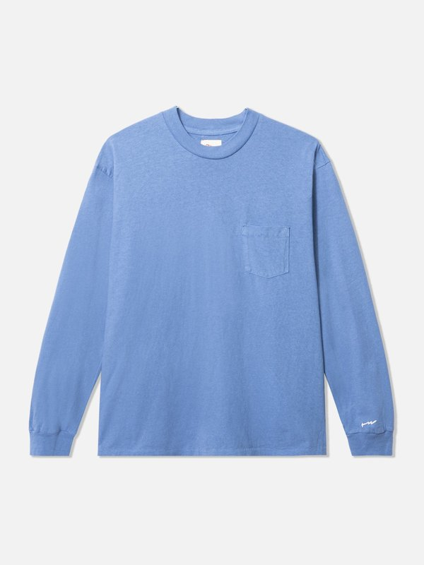 General Admission Long Sleeve Loose Knit Pocket Tee - Blue