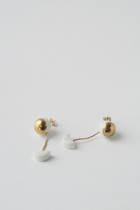 jujumade 14k Yellow Gold Pendant Halfmoon Earrings