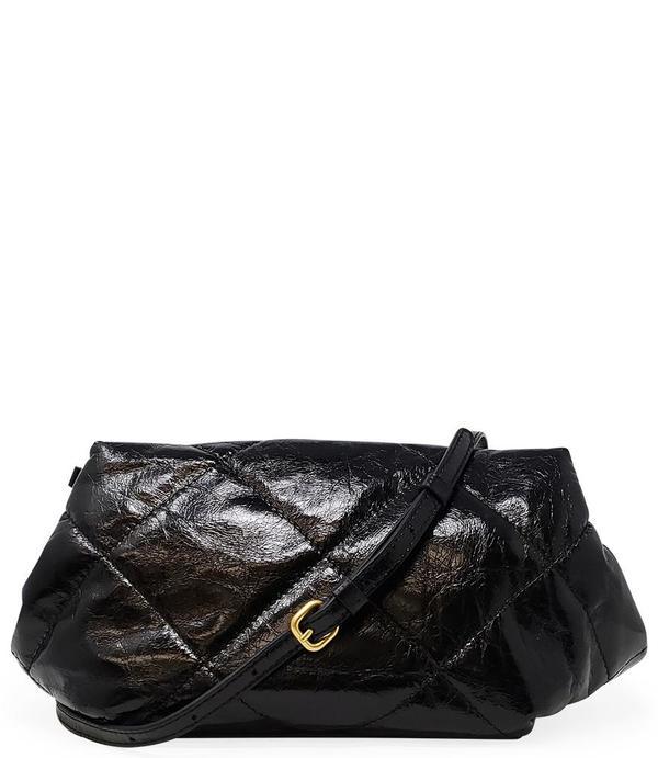 Gianni Chiarini Quilted Clutch Leather Handbag - Black