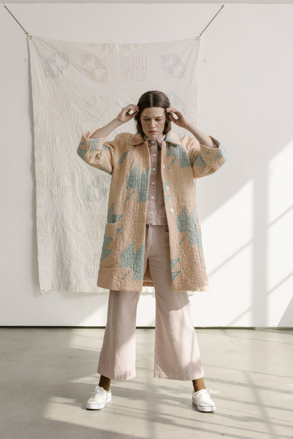 Carleen Raglan Quilt Coat - Yellow Circles