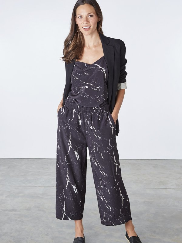 THE SOURCERY Wide Leg Pants - Black Marble