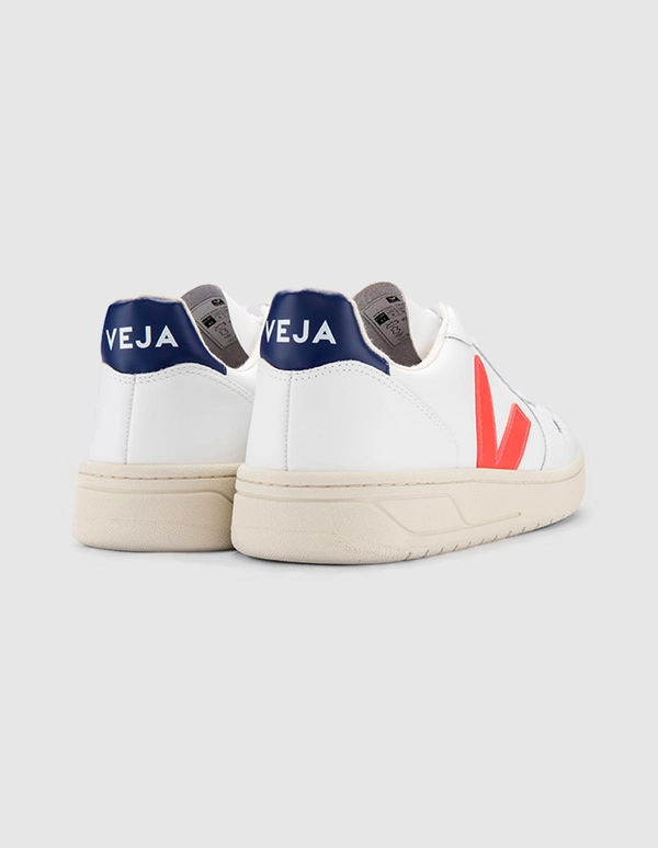 VEJA V-10 Leather Sneakers - Orange Fluo/Cobalt