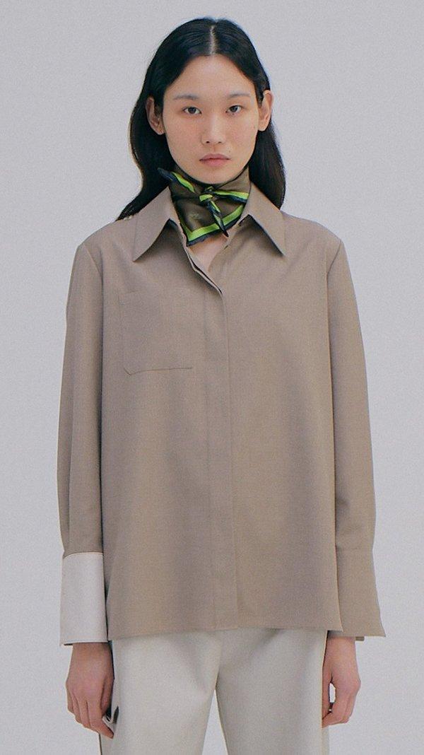 Wnderkammer Coloration Cuffs Shirt - Melange Brown