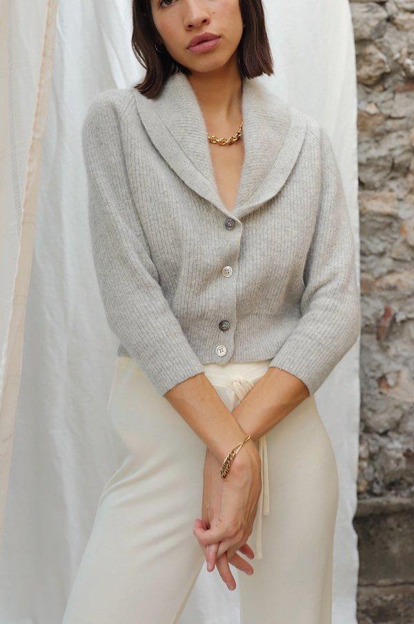 Dear Society Vintage Gray Wool Cropped Cardigan