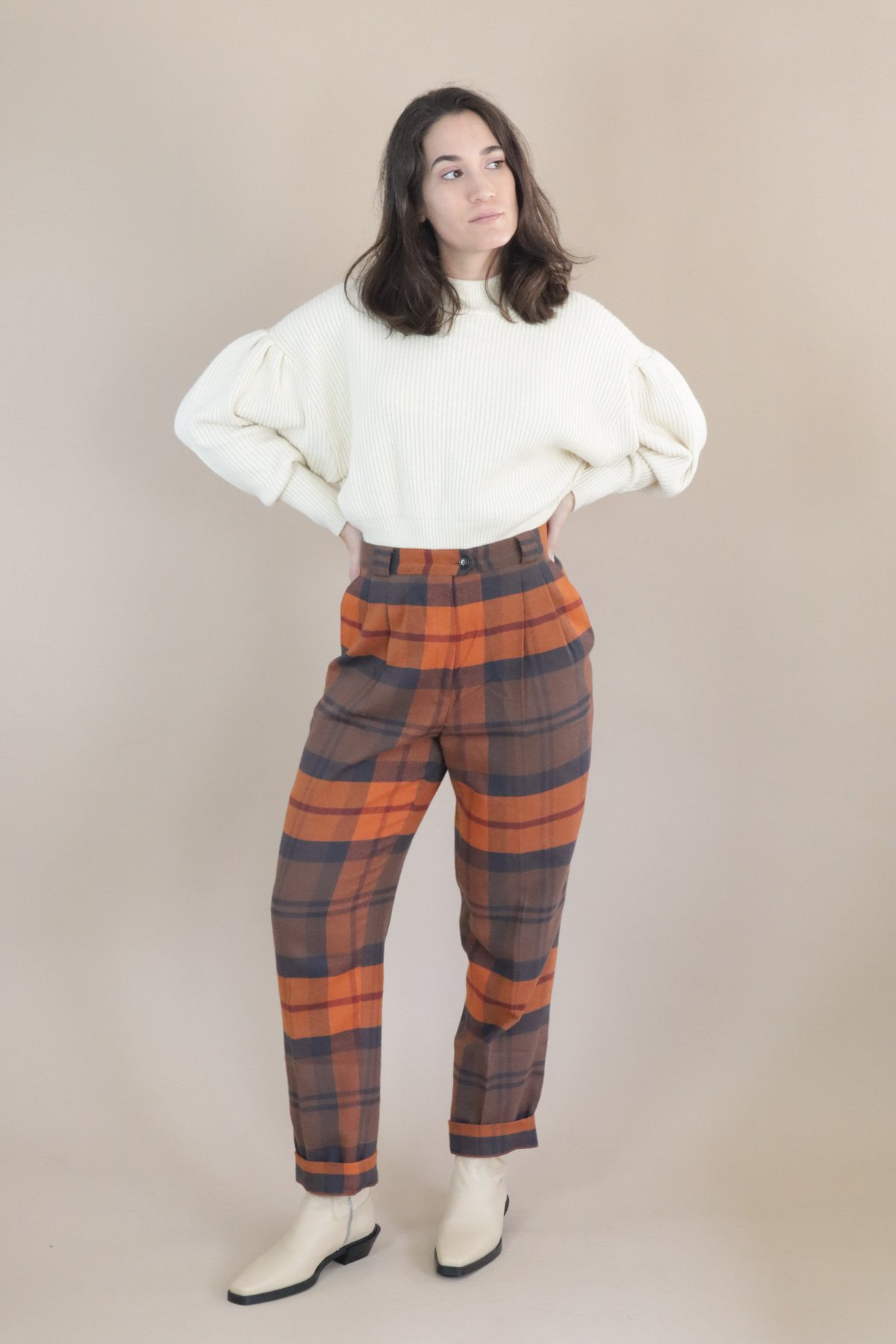 80s Outfit Inspiration, Party Ideas Rita Row Guri Trousers - Checkered $122.00 AT vintagedancer.com