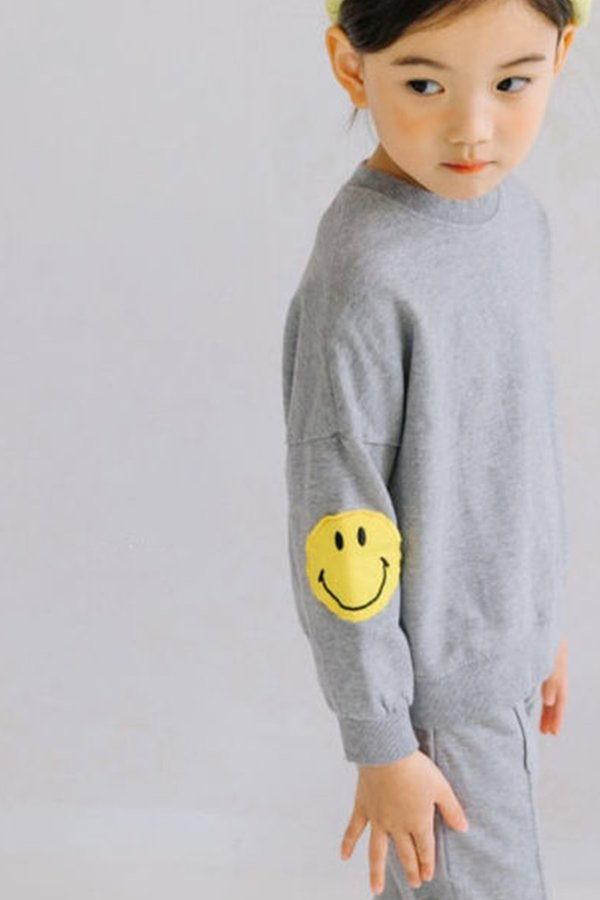 Kids Korean Collective SMILEY PATCH SWEATSUIT - GREY