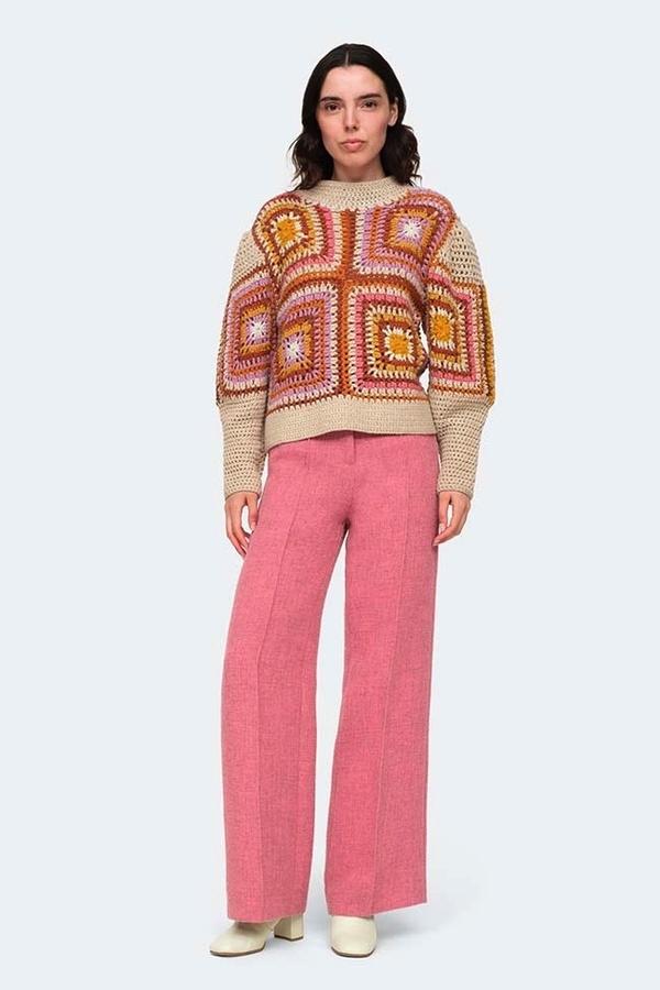 SEA NY Farrah Crochet Sweater - Pink