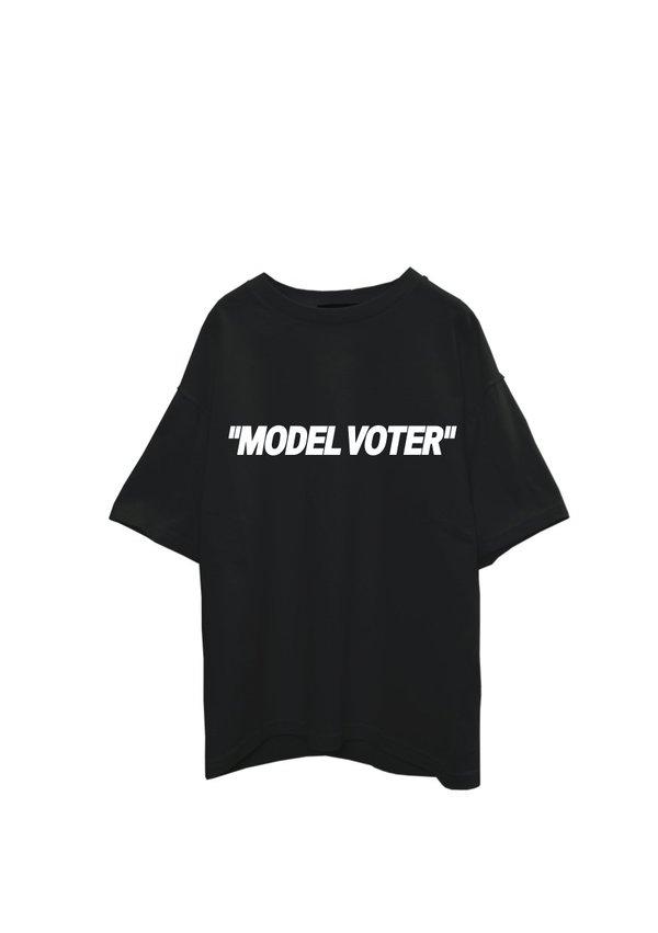 UNISEX Off-White X Fashion Our Future Black Cotton Model Voter T-Shirt - BLACK