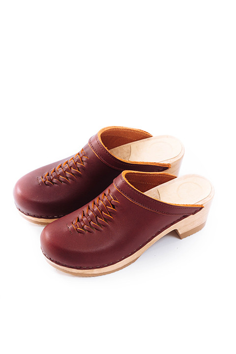 No. 6 Heidi Woven Clog in Oxblood
