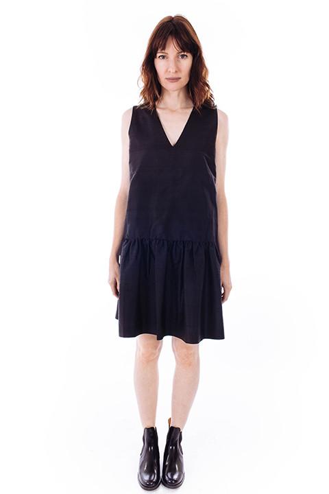 Ganni Ima Silk Dress in Black