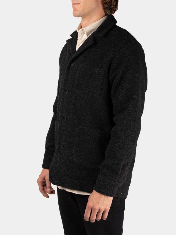 Schnayderman's Overshirt Notch Merino Wool - Dark Grey Melange