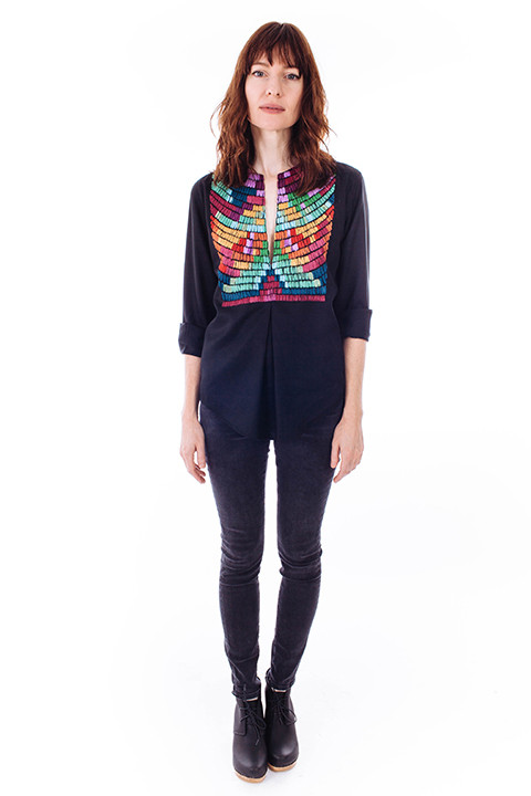 Mara Hoffman Radial Embroidered Pleat Front Blouse