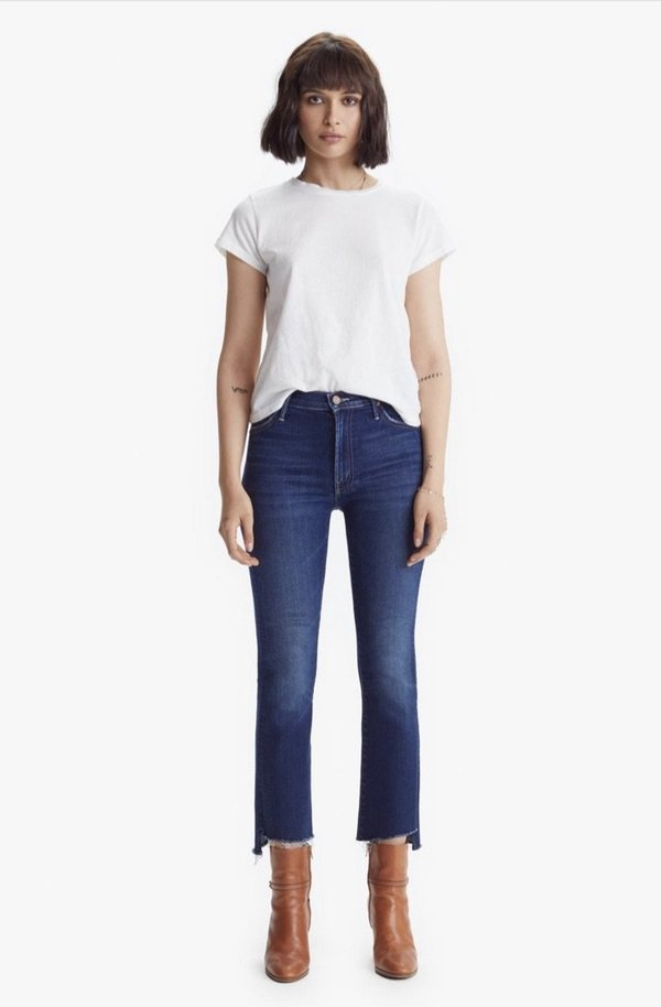 Mother The Insider Crop Step Fray Jeans - Home Movies