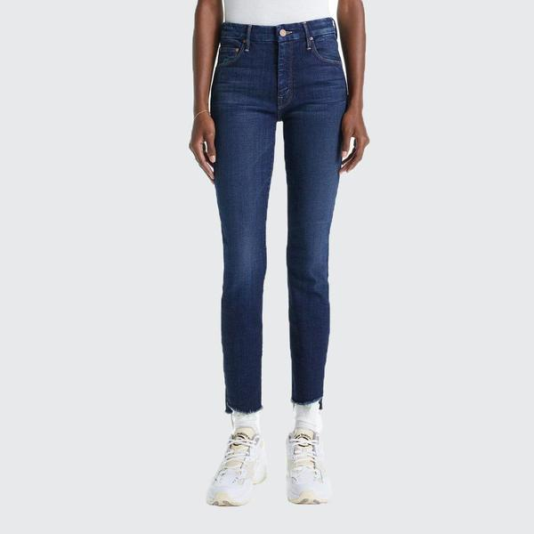 Mother Denim Looker Ankle Step Fray Jeans - Bombay