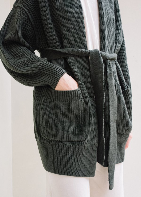 Back Beat Tie Cardigan - Graphite