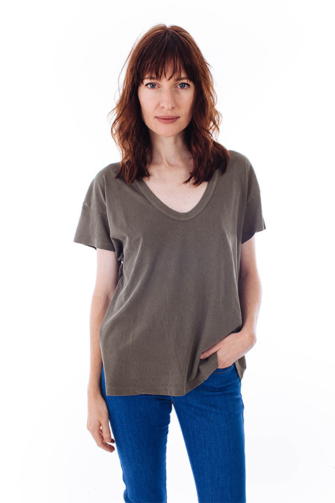 The Great U-Neck Tee in Moss
