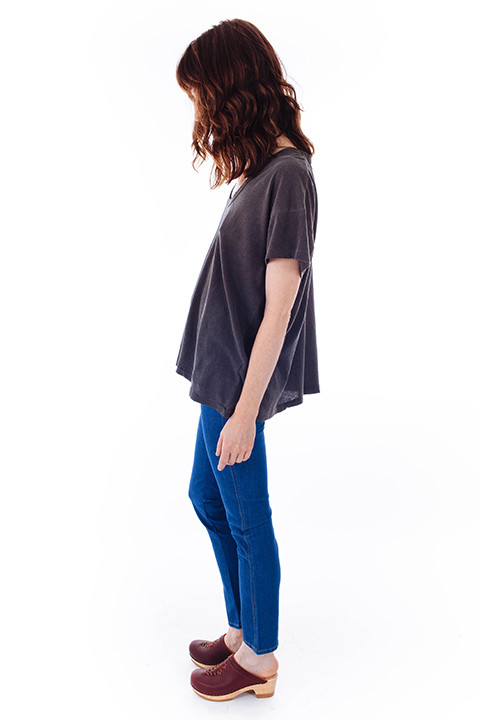 The Great U-Neck Tee in Washed Black