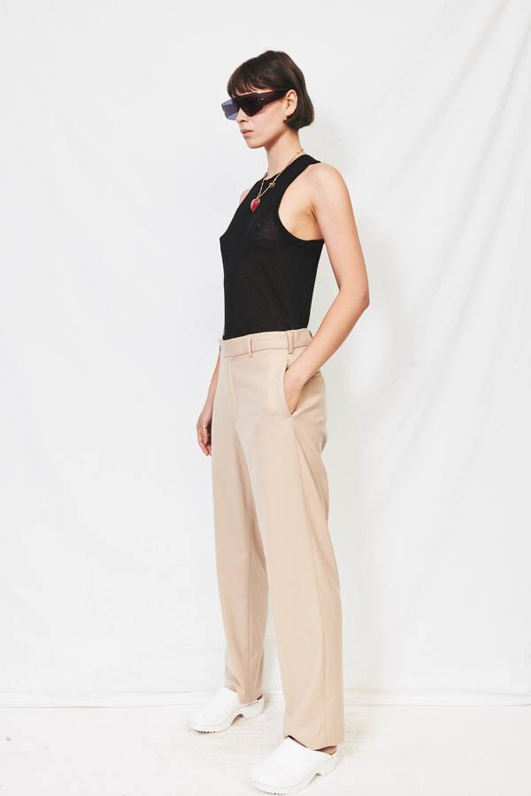 Unisex Assembly Wool Flat Front Pant - Cream