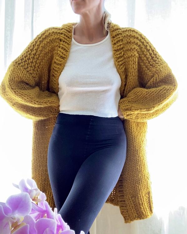 Bozidara Hand Knit Shoulder Detail Cardigan - Mustard