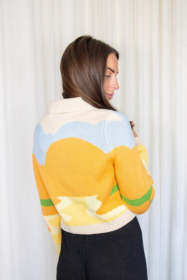 House of Sunny DAY TRIPPER Cropped Knit Cardigan - Yellow