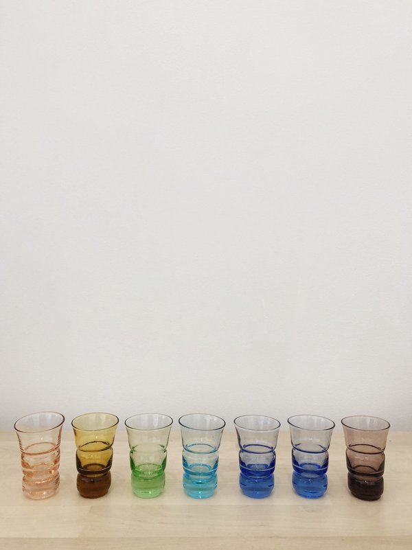 VINTAGE MULTI COLORED SHOT GLASSES