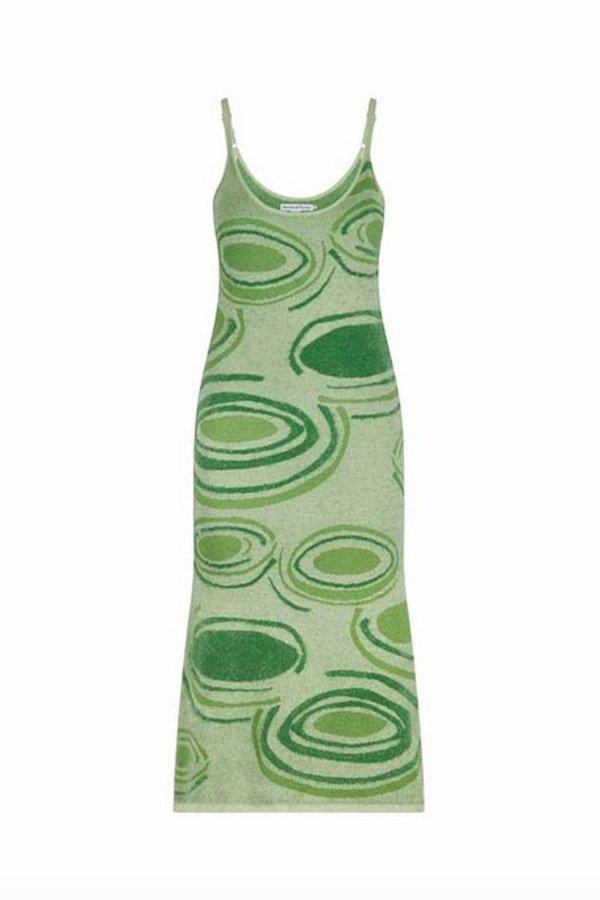 House of Sunny HOCKNEY Knitted Midi Length Dress - green