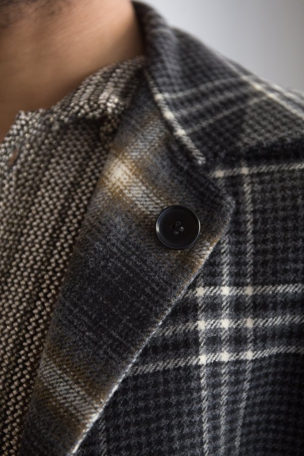 CMMN SWDN Reversible Double Faced Cashmere Bastian Coat - Grey Check