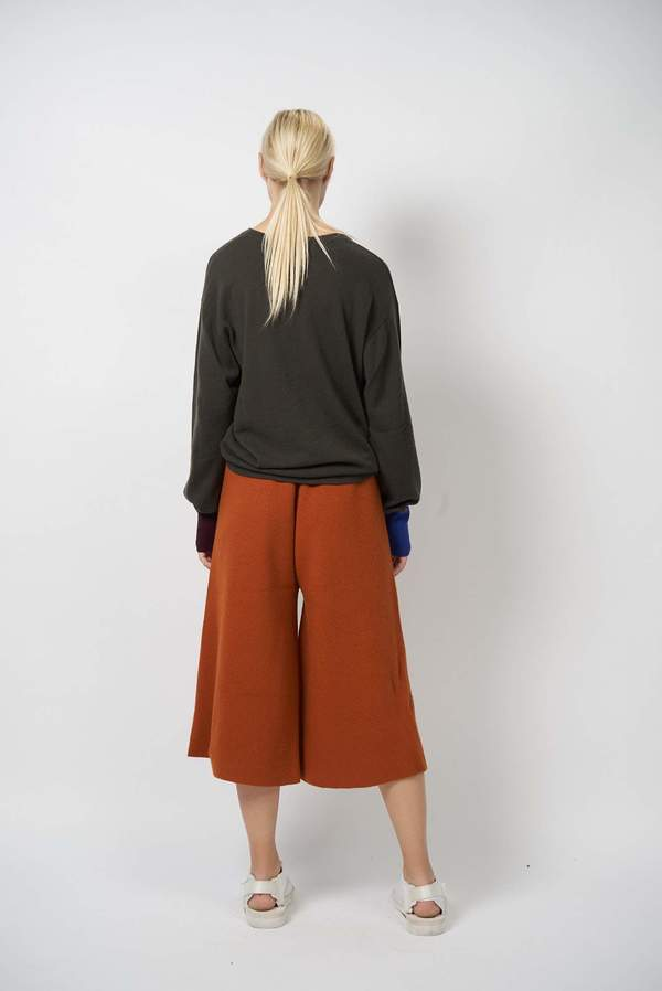 Oyuna Knitted flared Culotte Trousers - Star Flame/Star Red