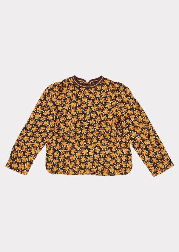 Kids Caramel Osprey Blouse - Black Leaf Print