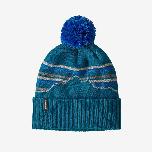 Patagonia Powder Town Beanie - Fitz Roy Retro Stripe Knit/Crater Blue