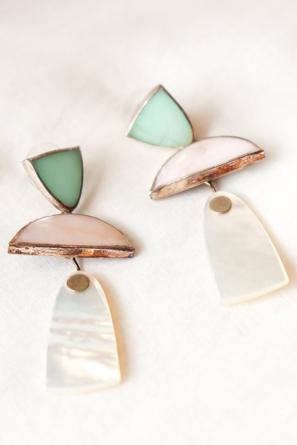 Octave Jewelry Trio Earring - Chrysoprase/Pink Opal/Mother of Pearl